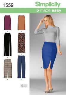 1559 Simplicity Pattern: Misses' Pencil Skirts and Slim Trousers